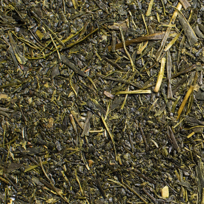 close up of loose leaf Fukamushi Sencha green tea