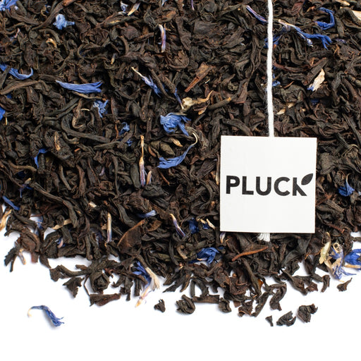 Loose leaf Earl Grey Cream black tea with Pluck tea bag tag