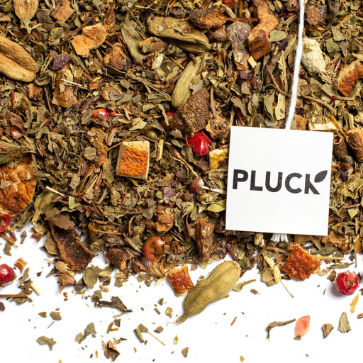Loose leaf Kensington Market Herbal Tea with Pluck tea bag tag