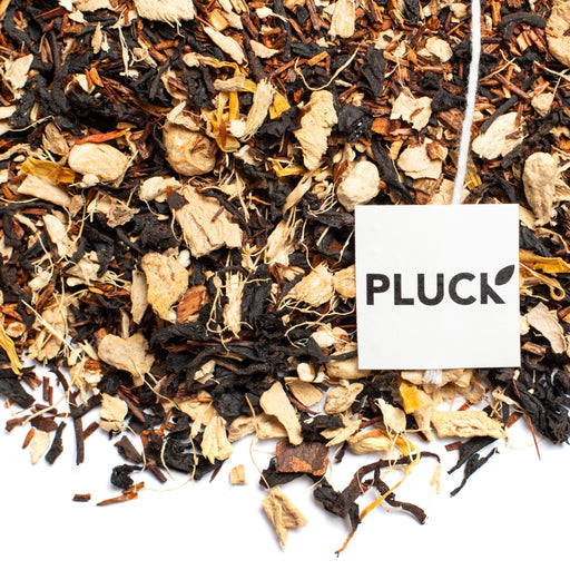 loose leaf Ginger Snap black tea with Pluck tea bag tag