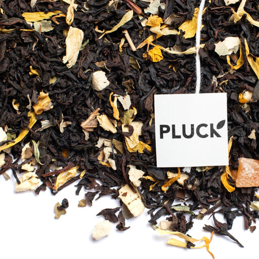 Loose leaf Just Peachy black tea with Pluck tea bag tag