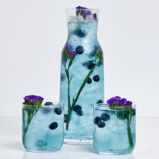 Steeped Verbena Blues iced tea with garnish