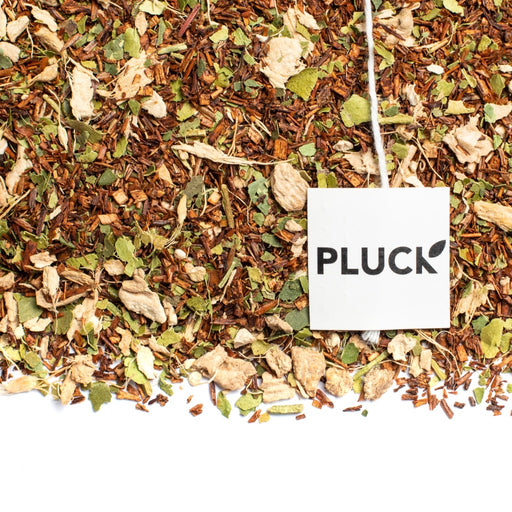 Loose leaf Corktown Blend rooibos tea with Pluck tea bag tag