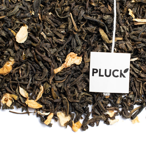 Loose leaf Flowering Jasmine green tea with Pluck tea bag tag