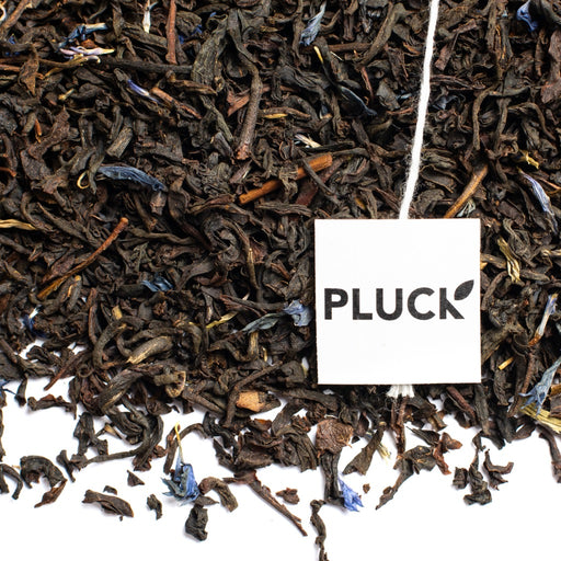 Loose leaf Classic Earl Grey black tea with Pluck tea bag tag