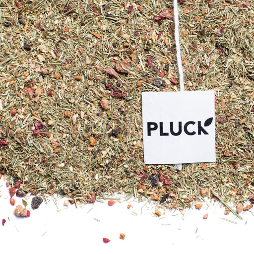 Loose leaf CTRL+ALT+DEL herbal tea with Pluck tea bag tag