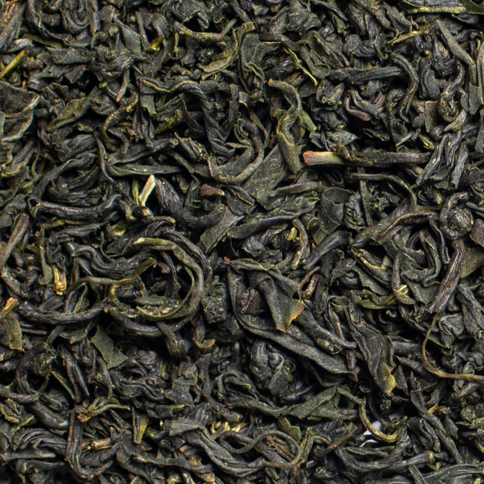 close up of loose leaf kamairicha green tea