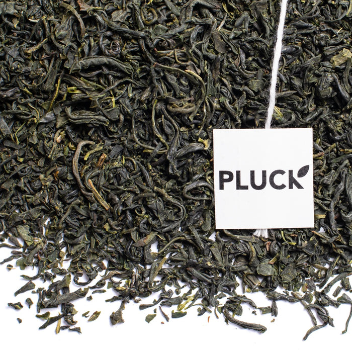 Loose leaf kamairicha green tea with Pluck tea bag tag