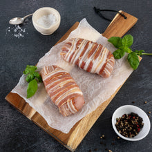 Load image into Gallery viewer, Chorizo & Mozzarella Stuffed, Pancetta Wrapped Chicken Breast