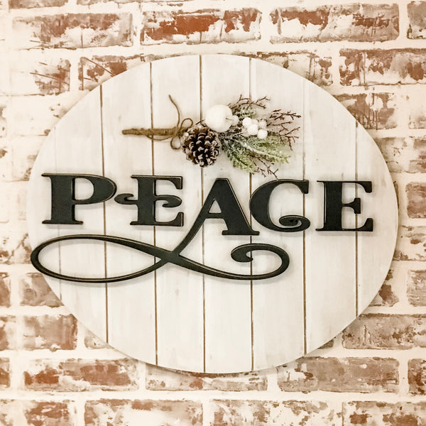 2019 Featured Sign  Peace Raised wood letters