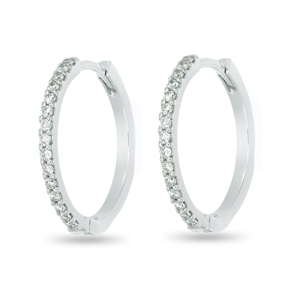 White Diamond Hoops