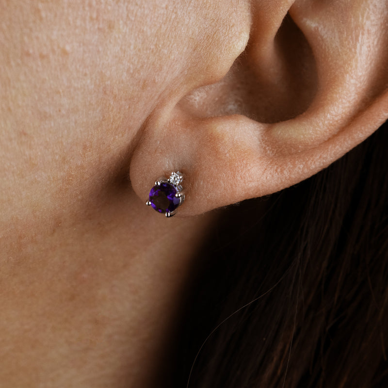 Amethyst Crown Studs