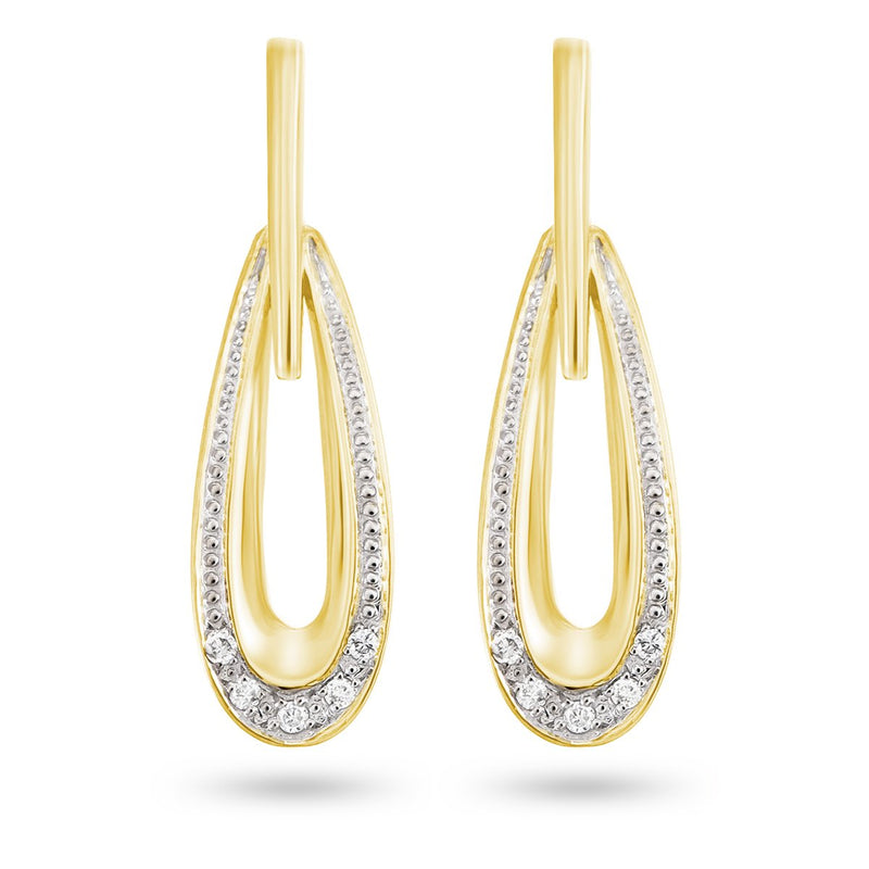 Golden Diamond Drop Earrings