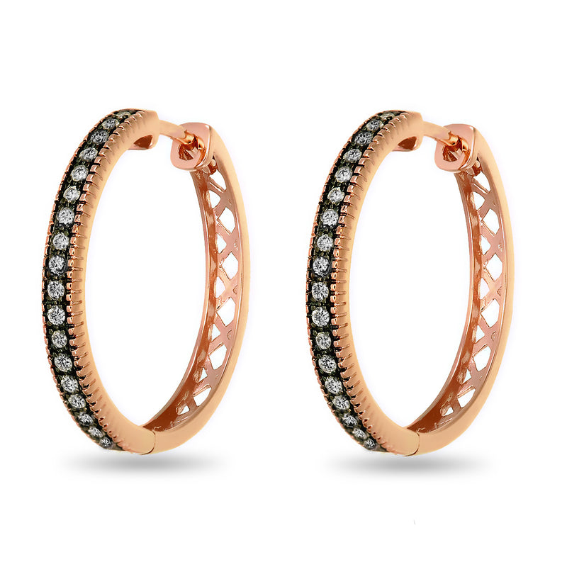 Rosy Diamond Hoops