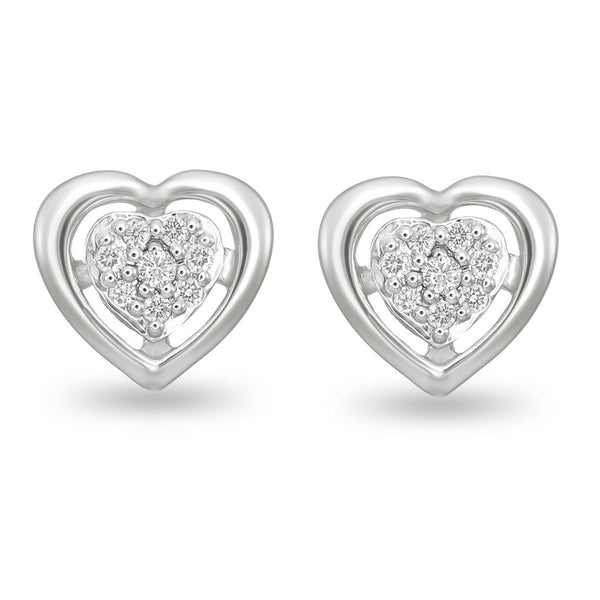 White Heart Diamond Studs