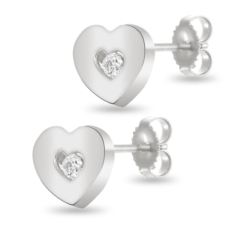 Full White Heart Studs