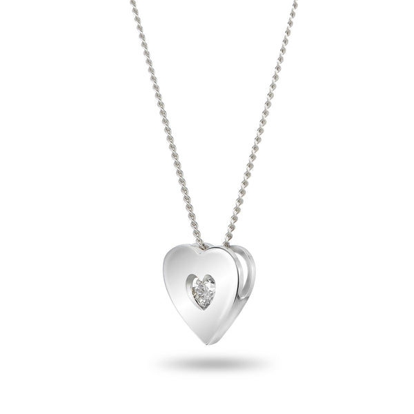 Full White Heart Necklace