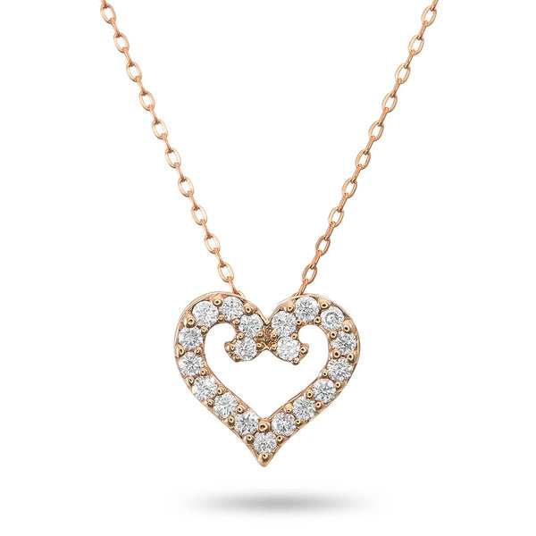 Rosy Whimsy Heart Necklace