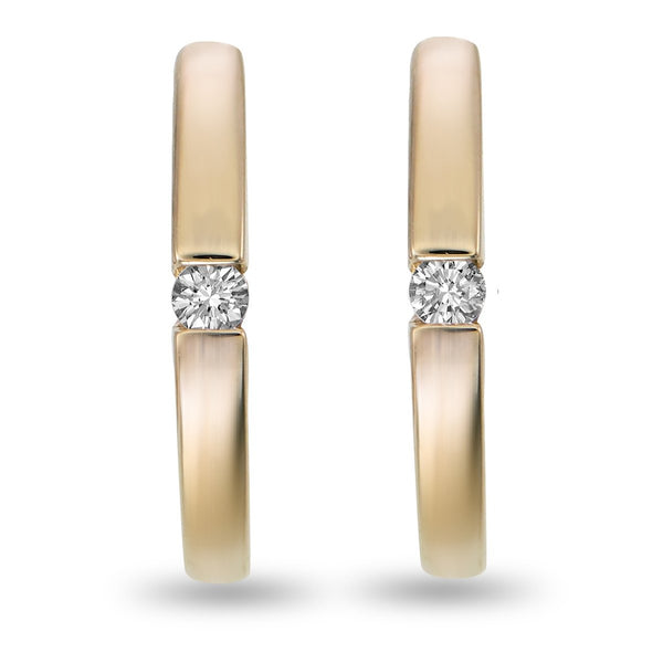 Golden Single Diamond Hoops