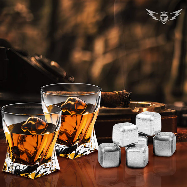 Whiskey Glasses and Stainless Steel Whiskey Stones