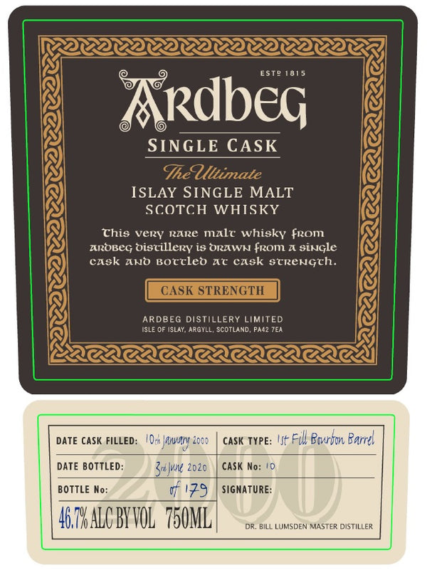 Ardbeg 2000 Cask Strength Single Cask - Available at Wooden Cork