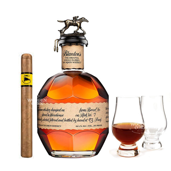 Blanton's Original Single Barrel Bourbon with Glencairn Glass Set & Cigar - Available at Wooden Cork