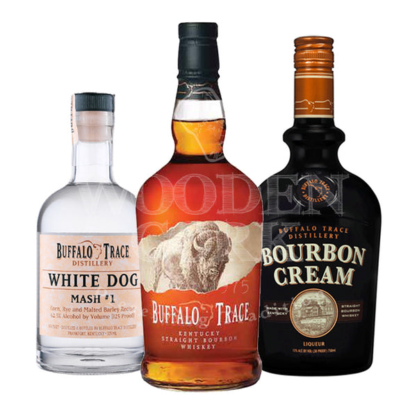 Buffalo Trace Bourbon & Bourbon Cream Liqueur & White Dog Mash #1 Bundle - Available at Wooden Cork