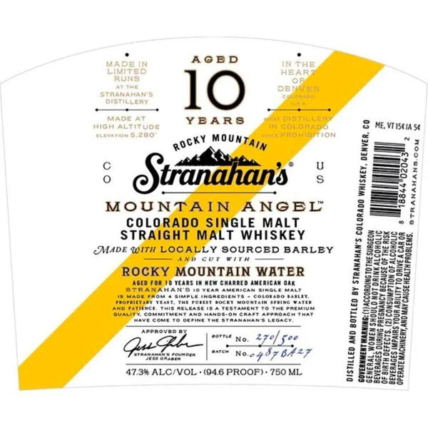 Stranahan's Mountain Angel 10 Year Old Whiskey - Available at Wooden Cork