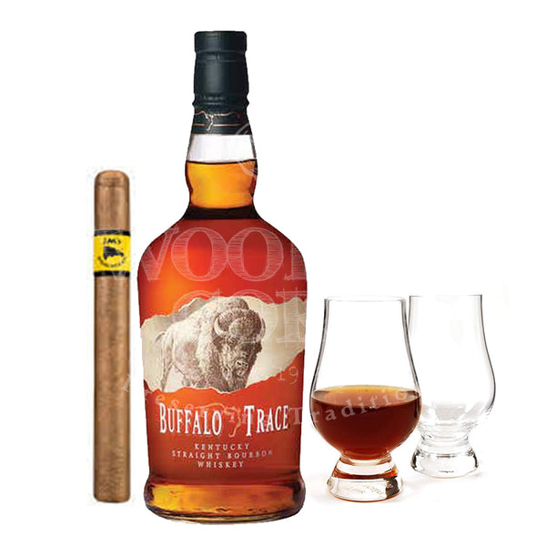 Buffalo Trace Bourbon with Glencairn Set & Cigar Bundle - Available at Wooden Cork