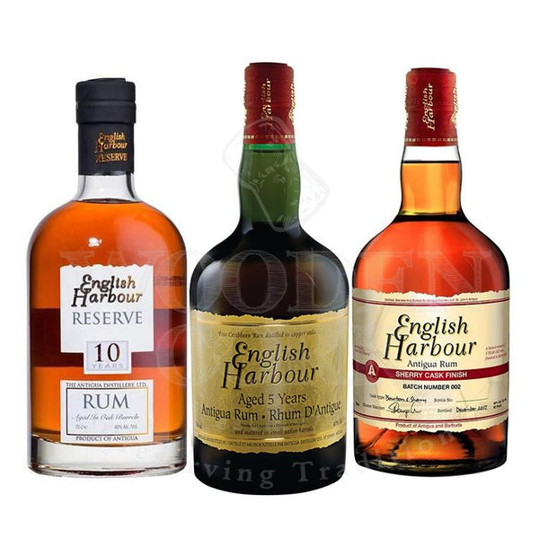 English Harbour 5 Year Rum, English Harbour 10 Year Rum and English Harbour Sherry Cask Finish Bundle - Available at Wooden Cork