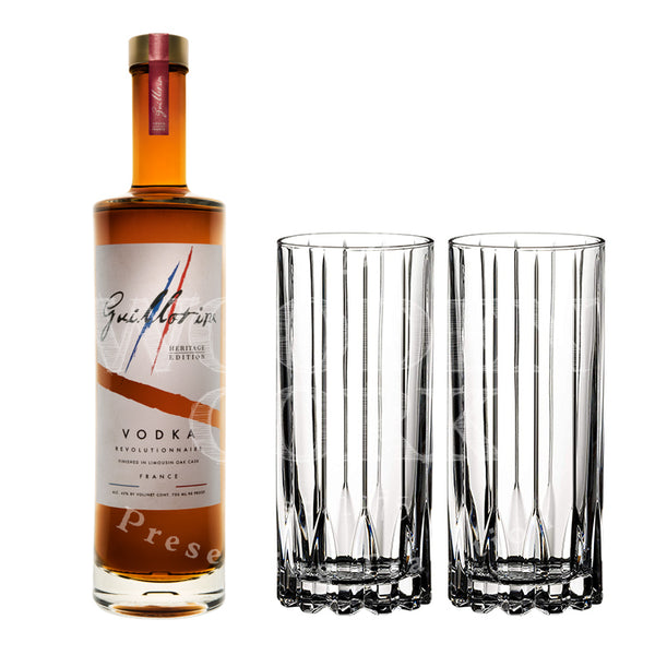 Guillotine Heritage Vodka with Glass Set Bundle - Available at Wooden Cork