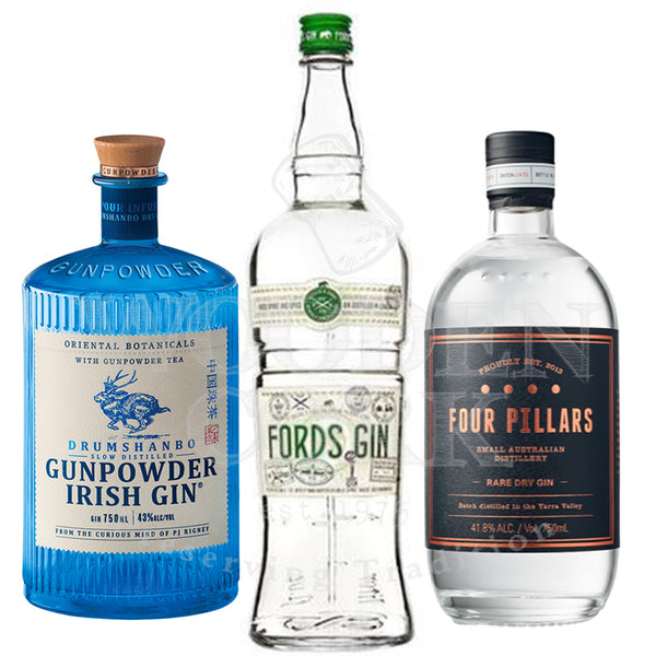Drumshanbo Gunpowder & Fords London Dry & Four Pillars Rare Dry Gin Bundle - Available at Wooden Cork
