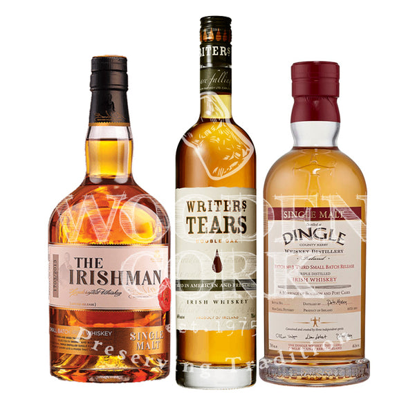 Writers' Tears Double Oak, Irishman Single Malt and Dingle Batch #3 Bundle - Available at Wooden Cork