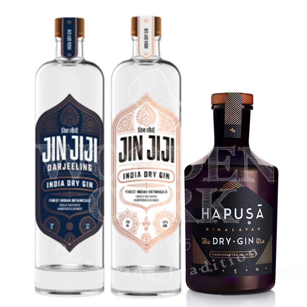 JIN JIJI India Dry Gin & JIN JIJI Darjeeling Dry Gin & HAPUSA Himalayan Dry Gin Bundle - Available at Wooden Cork