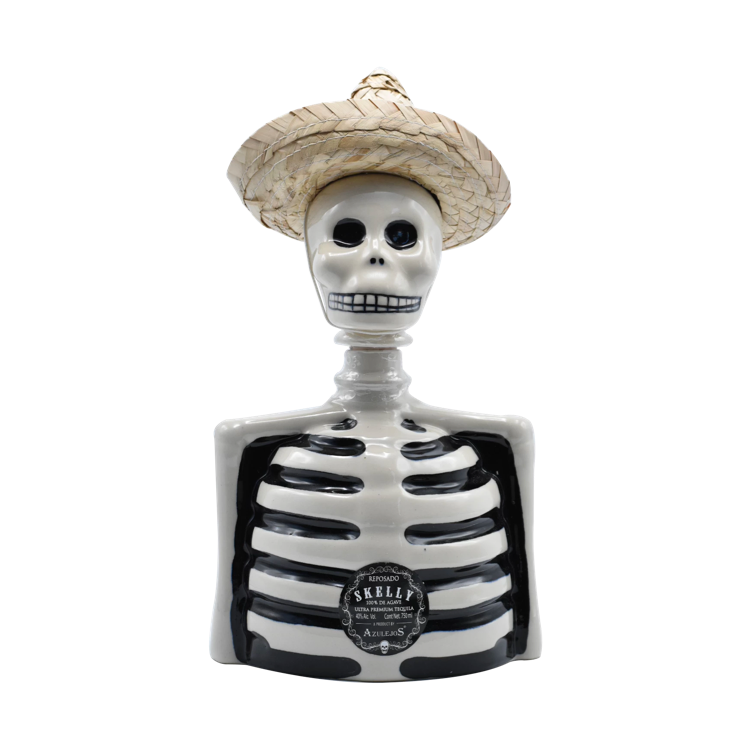 Los Azulejos Skelly Reposado Straw Hat Tequila - Available at Wooden Cork