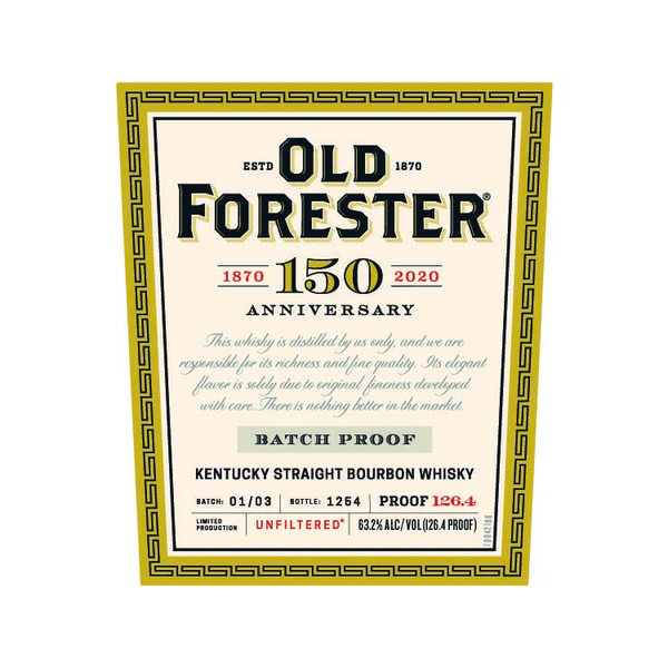 Old Forester 150th Anniversary Batch Proof - Available at Wooden Cork
