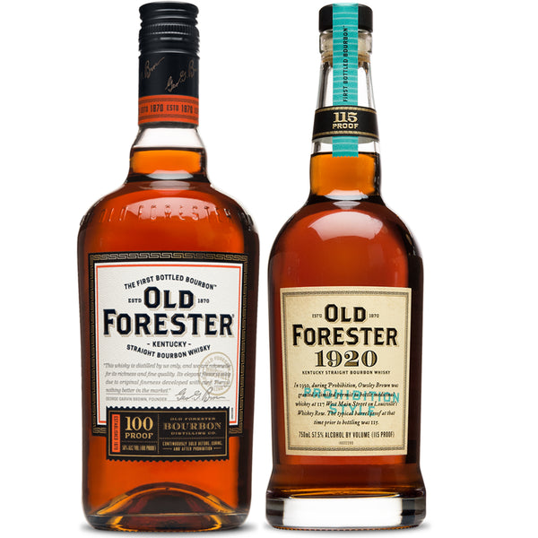 Old Forester 100 Proof + 1920 Bourbon Whisky Twin Pack - Available at Wooden Cork