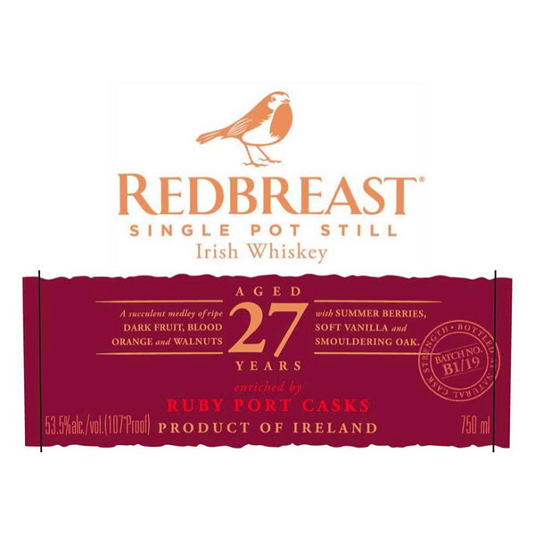 Redbreast Single Pot Still 27 Year Old Irish Whiskey - Available at Wooden Cork