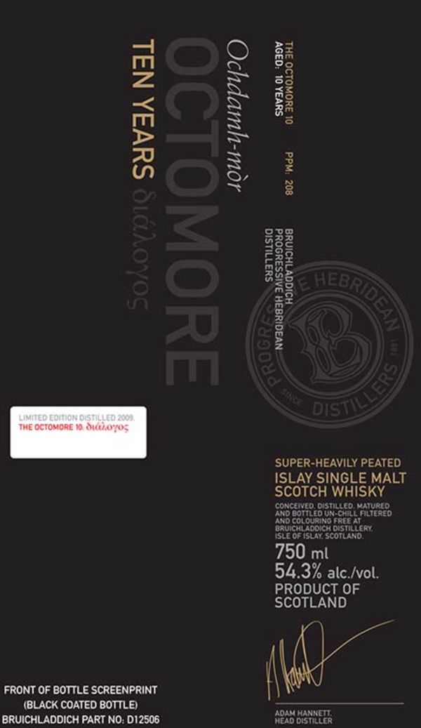 Bruichladdich Octomore 10 Year Old Single Malt Scotch Whiskey - Available at Wooden Cork