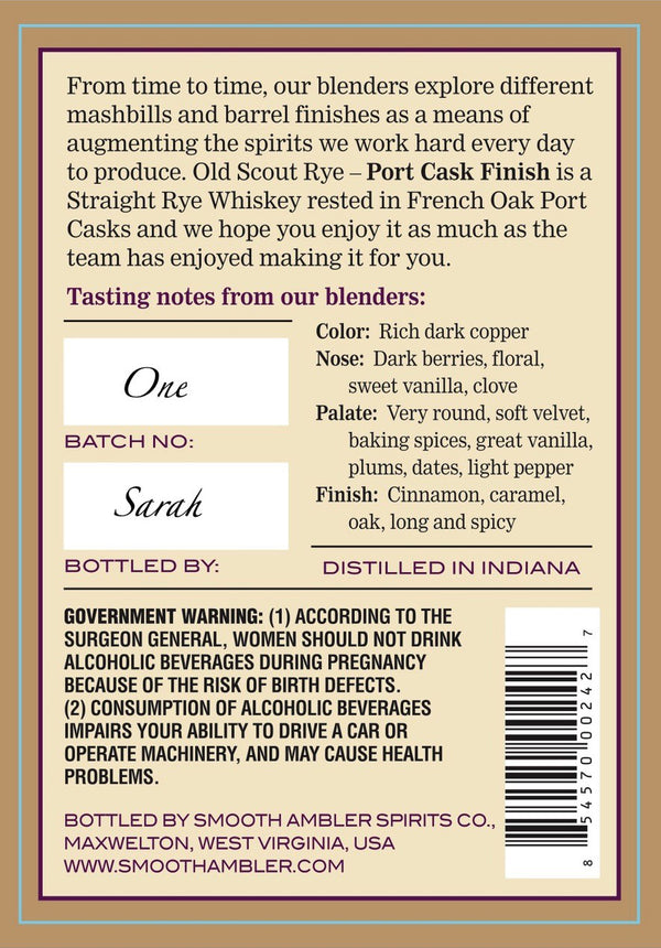 Smooth Ambler Old Scout Rye Port Cask Finish - Available at Wooden Cork
