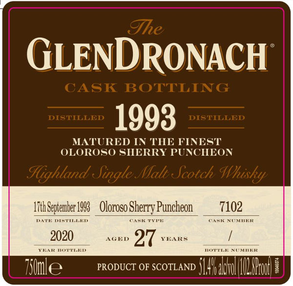 The Glendronach 1993 Oloroso Cask - Available at Wooden Cork