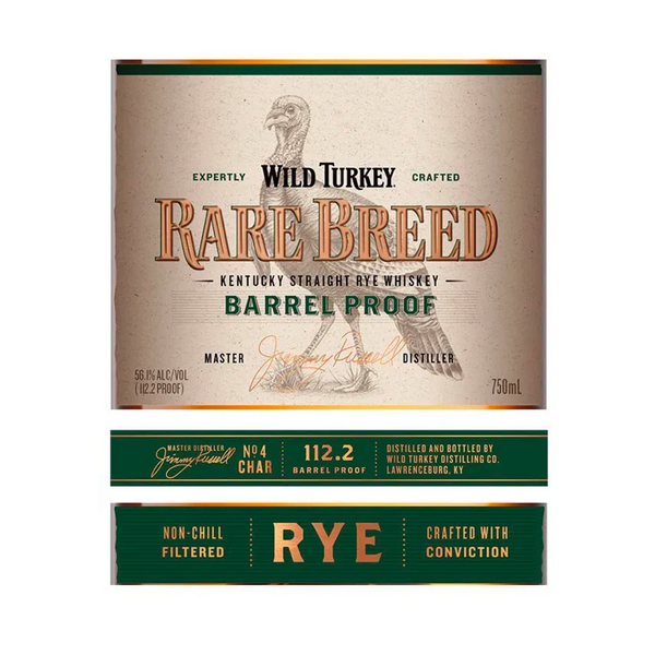 Wild Turkey Rare Breed Barrel Proof Rye - Available at Wooden Cork