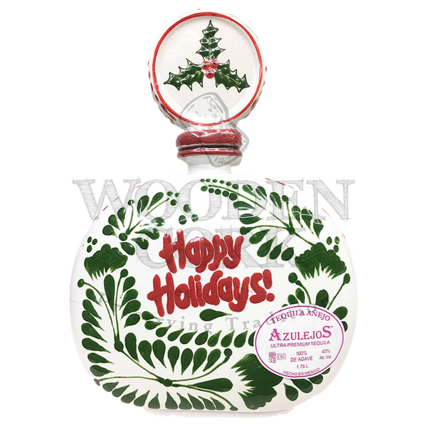 Los Azulejos Anejo Talavera HAPPY HOLIDAYS 1.75L - Available at Wooden Cork