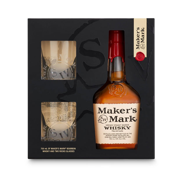 Maker's Mark Bourbon Whisky Gift Set - 750ml Bottle with Rocks Glasses - Available at Wooden Cork