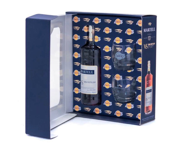 Martell Cognac VS with Lakers Glass Gift Set - Available at Wooden Cork