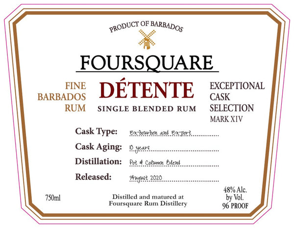 Foursquare Detente 10 Year Old Single Blended Barbados Rum - Available at Wooden Cork