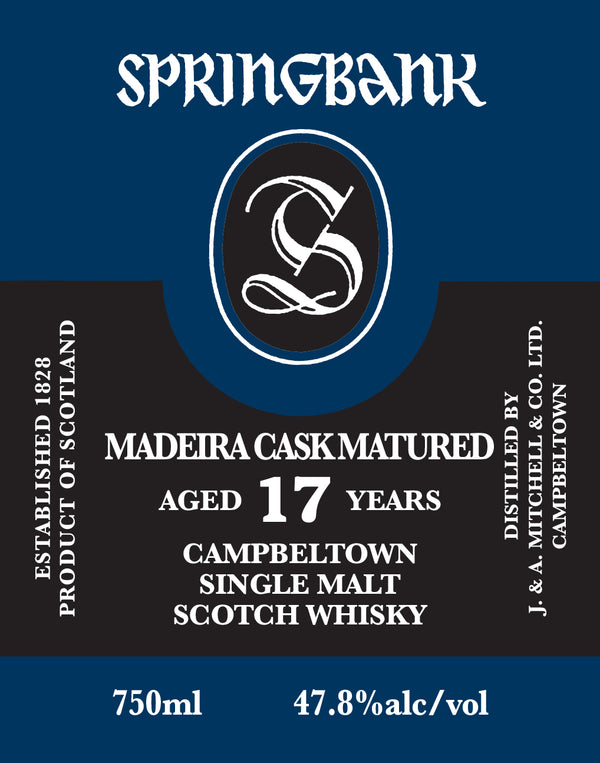 Springbank 17 Year Madeira Cask Single Malt Scotch Whisky - Available at Wooden Cork