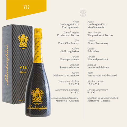 Lamborghini V12: Brut Vino Spumante With Gift Box