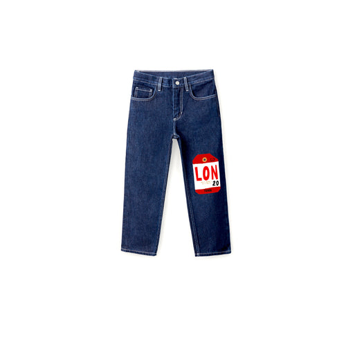 'BAGGAGE TAG' DENIM JEANS - BULB LONDON