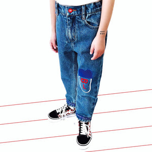 'Bulb Face' Denim Jeans - BULB LONDON